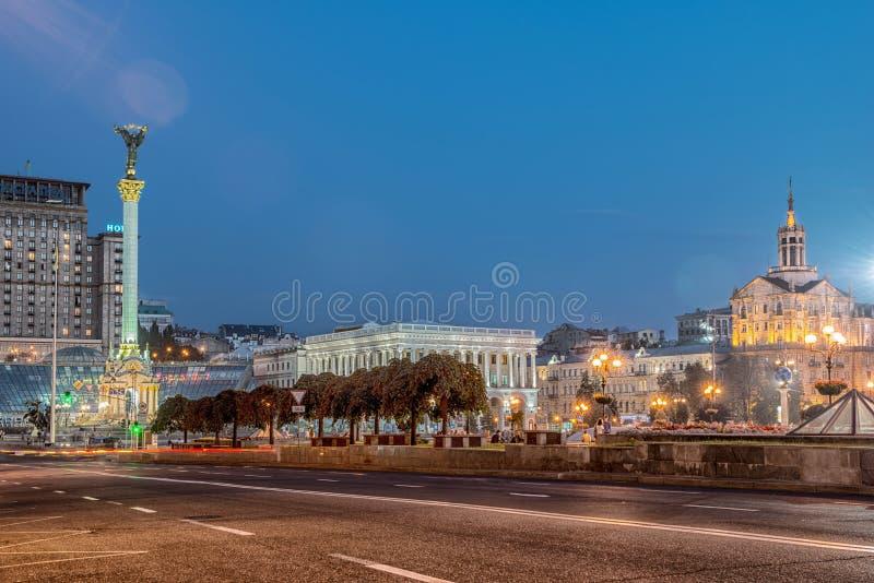 Självständighetfyrkant, huvudfyrkanten av Kyiv arkivfoto