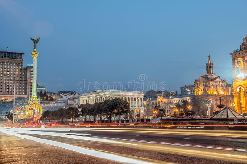 Självständighetfyrkant, huvudfyrkanten av Kyiv royaltyfria bilder