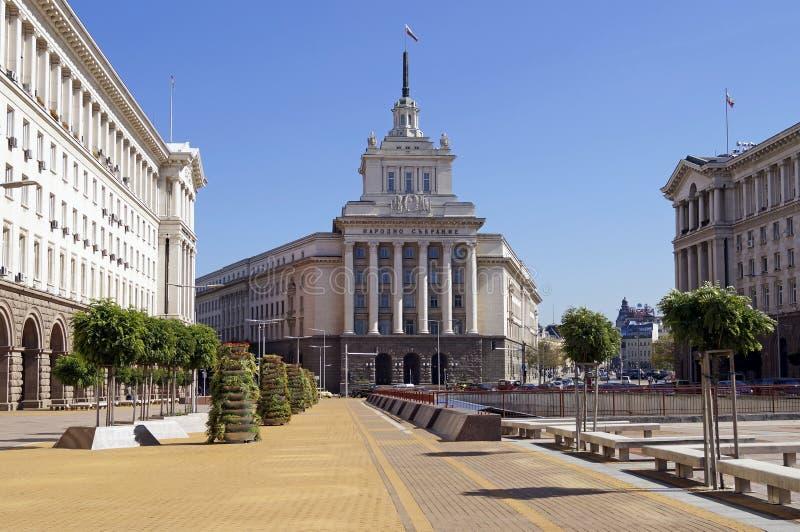 Självständighetfyrkant i Sofia, Bulgarien royaltyfria bilder