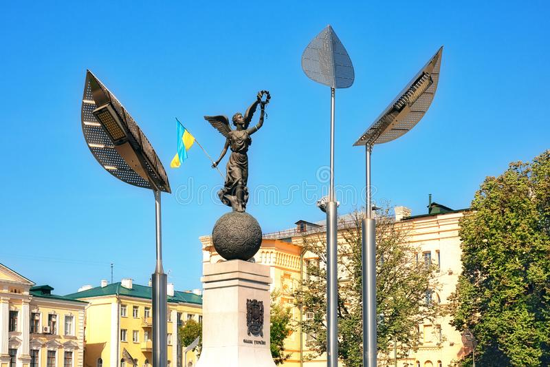 Självständighetsbevis i centrala delen av staden Kharkiv, Ukraina royaltyfri fotografi