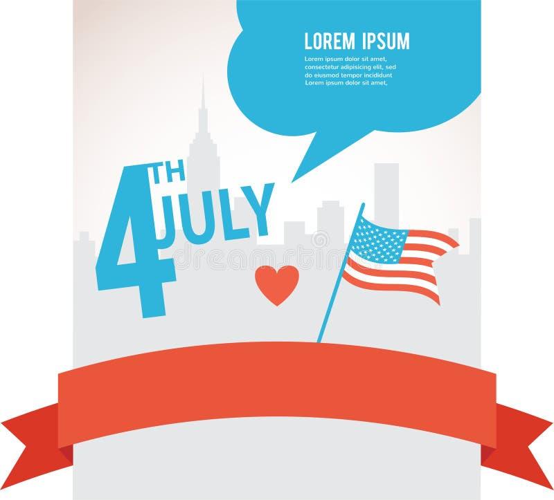 Självständighetsdagen av Amerika, flagga över stad stock illustrationer