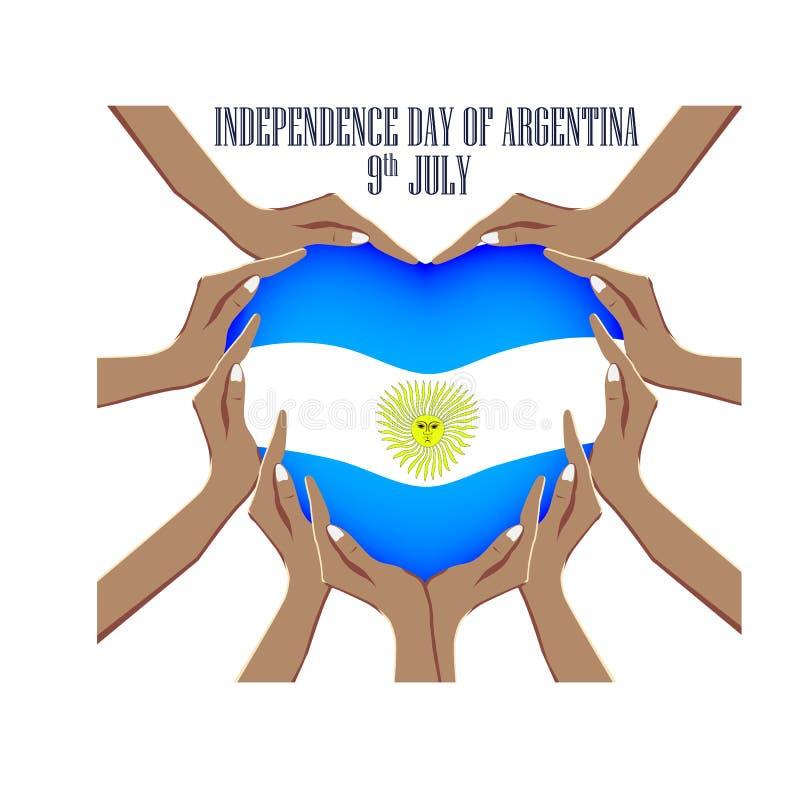 Självständighetsdagen av Argentina, illustration med händer i formen av hjärtan, inom nationsflaggan royaltyfri illustrationer