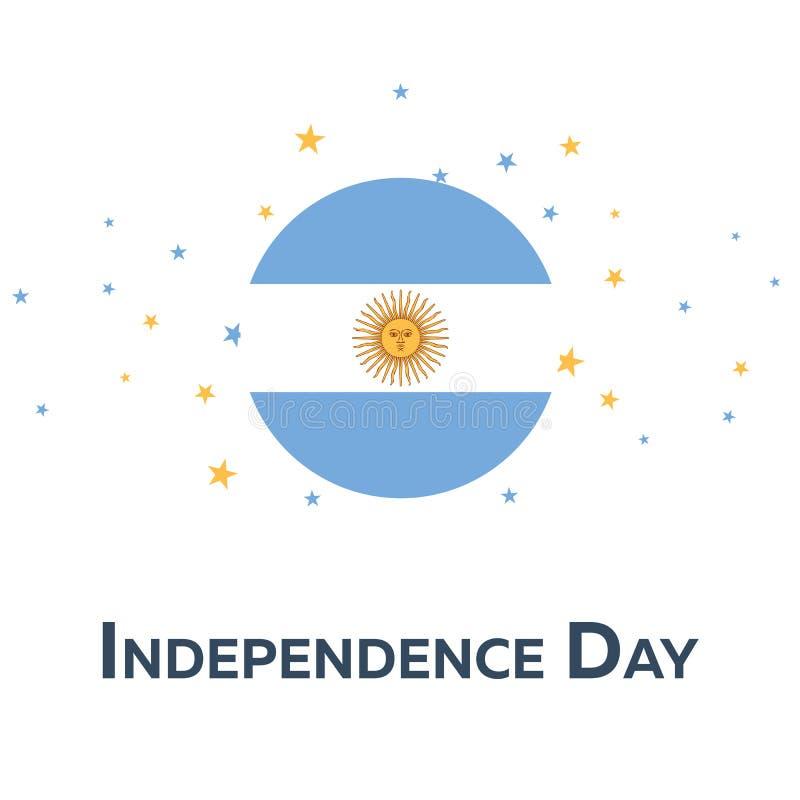Självständighetsdagen av Argentina patriotiskt baner också vektor för coreldrawillustration stock illustrationer