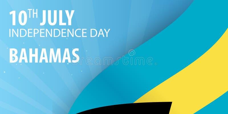 Självständighetsdagen av Bahamas Flagga och patriotiskt baner också vektor för coreldrawillustration royaltyfri illustrationer