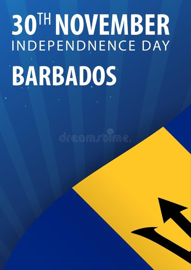 Självständighetsdagen av Barbados Flagga och patriotiskt baner också vektor för coreldrawillustration royaltyfri illustrationer
