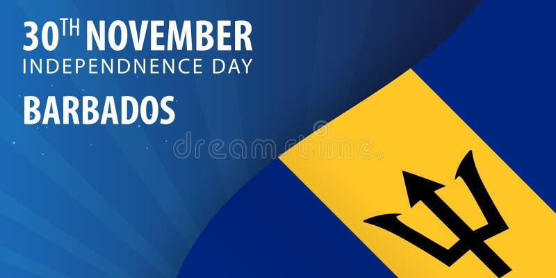 Självständighetsdagen av Barbados Flagga och patriotiskt baner också vektor för coreldrawillustration stock illustrationer