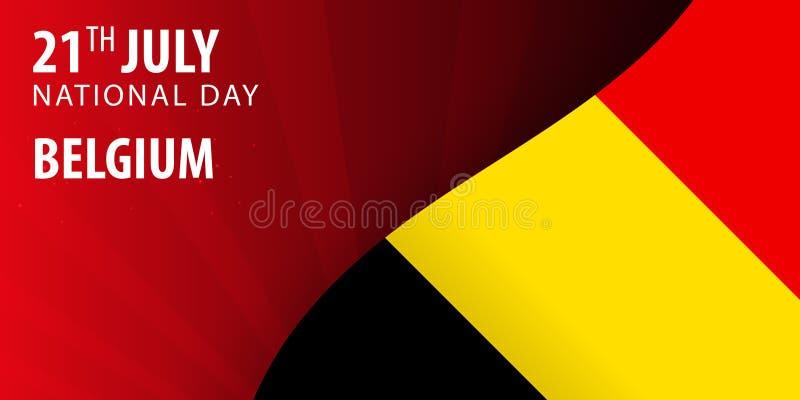 Självständighetsdagen av Belgien Flagga och patriotiskt baner också vektor för coreldrawillustration vektor illustrationer
