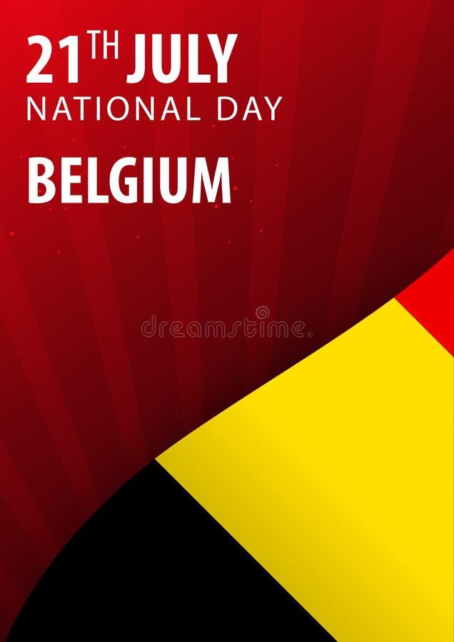 Självständighetsdagen av Belgien Flagga och patriotiskt baner också vektor för coreldrawillustration stock illustrationer