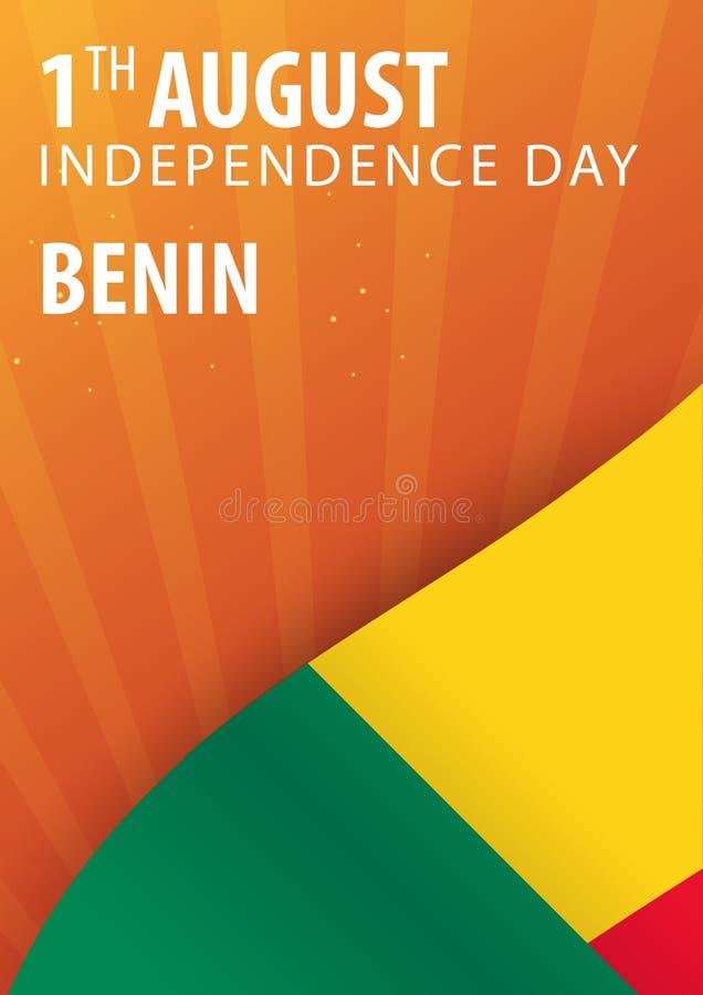 Självständighetsdagen av Benin Flagga och patriotiskt baner också vektor för coreldrawillustration stock illustrationer