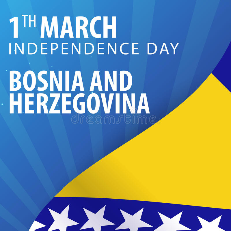 Självständighetsdagen av Bosnien och Hercegovina Flagga och patriotiskt baner också vektor för coreldrawillustration stock illustrationer