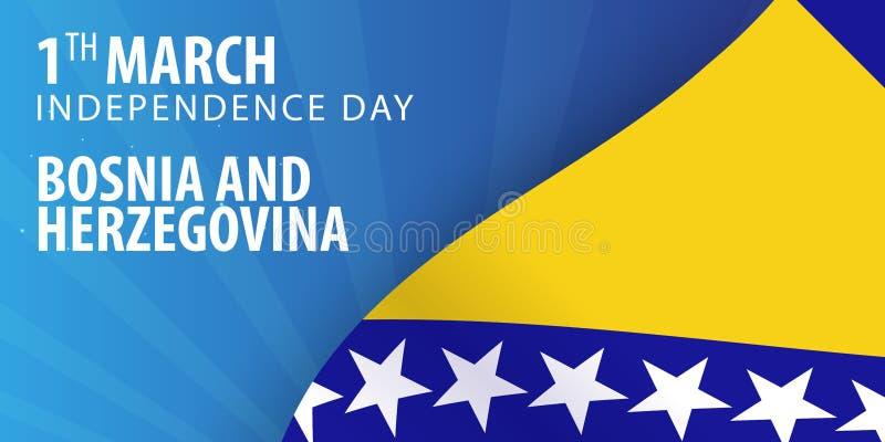 Självständighetsdagen av Bosnien och Hercegovina Flagga och patriotiskt baner också vektor för coreldrawillustration royaltyfri illustrationer