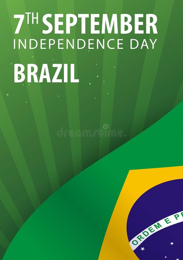 Självständighetsdagen av Brasilien Flagga och patriotiskt baner också vektor för coreldrawillustration stock illustrationer