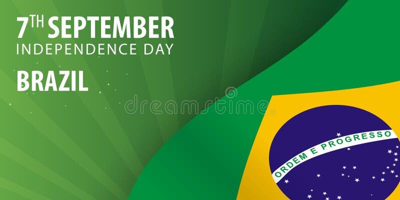 Självständighetsdagen av Brasilien Flagga och patriotiskt baner också vektor för coreldrawillustration royaltyfri illustrationer