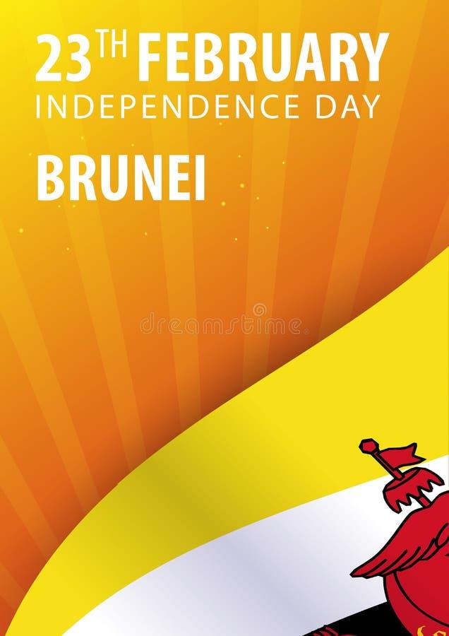 Självständighetsdagen av Brunei Flagga och patriotiskt baner också vektor för coreldrawillustration royaltyfri illustrationer