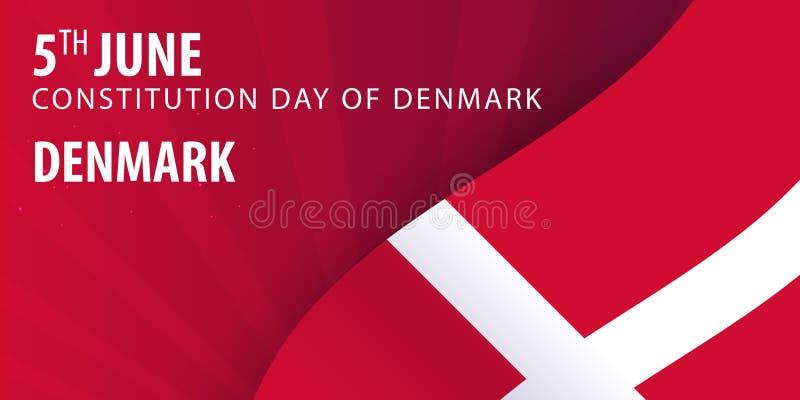 Självständighetsdagen av Danmark Flagga och patriotiskt baner stock illustrationer