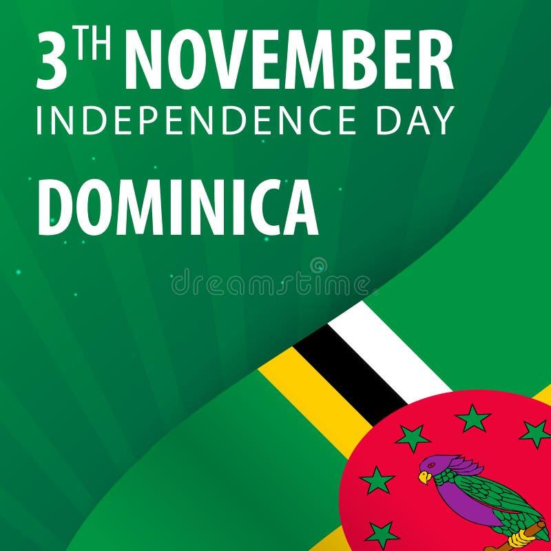 Självständighetsdagen av Dominica Flagga och patriotiskt baner royaltyfri illustrationer