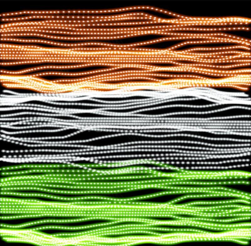 Självständighetsdagen av Indien av linjer bakgrund Indisk illustration för flaggabakgrundvektor Färgrik textur i grunge stock illustrationer