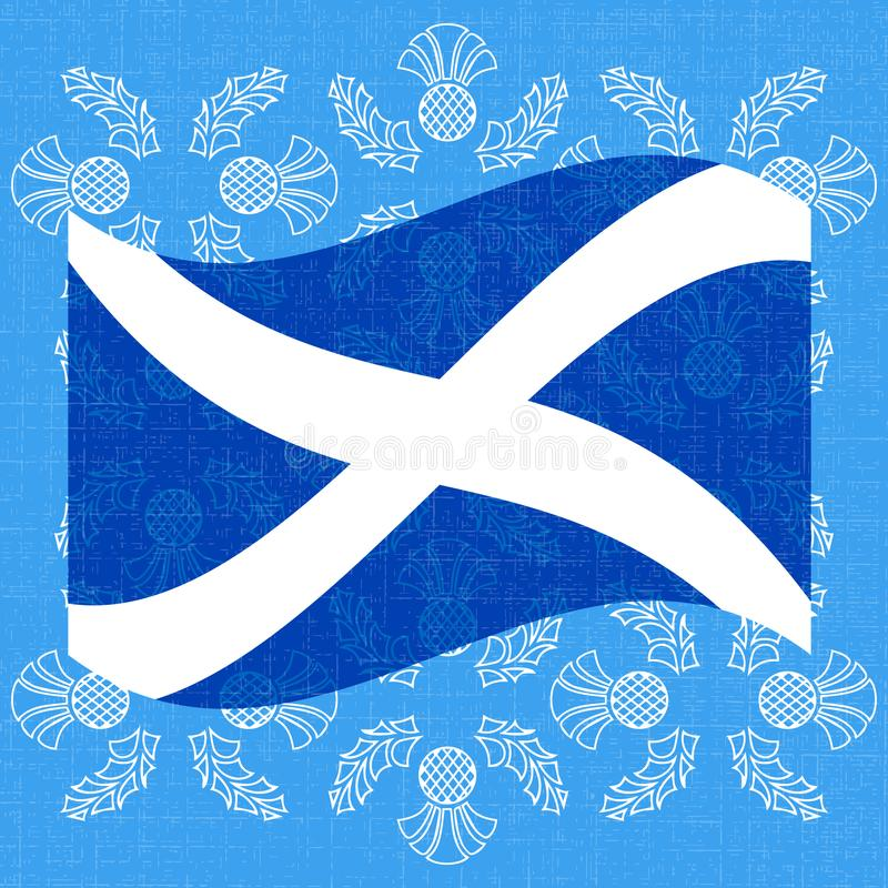 Självständighetsdagen av Skottland 24 Juni flagga scotland Grungebakgrund med av en tistel royaltyfri illustrationer