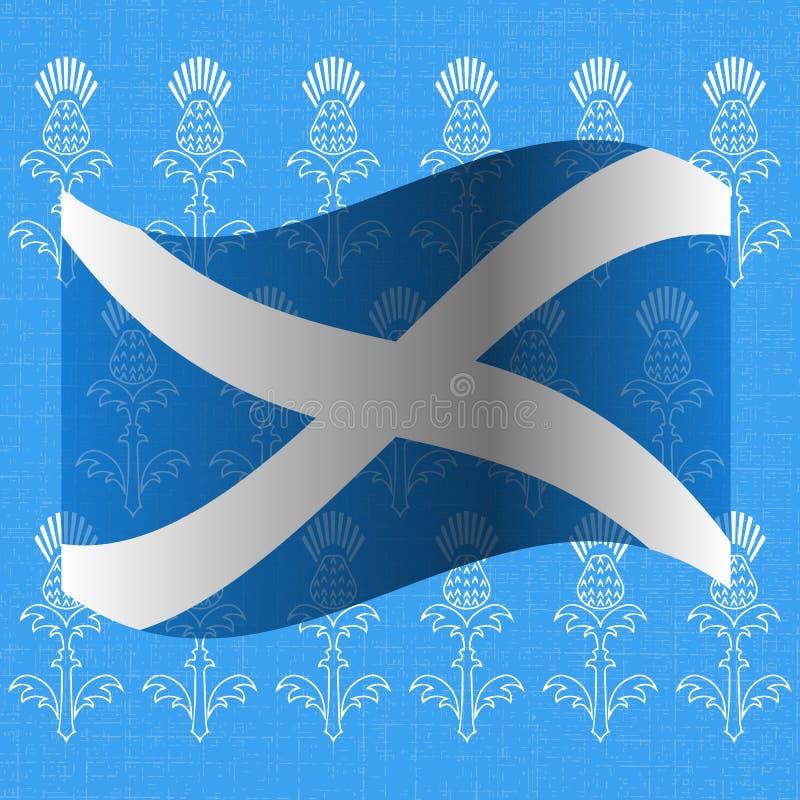 Självständighetsdagen av Skottland 24 Juni flagga scotland Grungebakgrund med teckningar av en tistel royaltyfri illustrationer