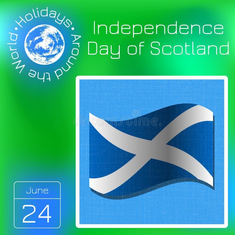 Självständighetsdagen av Skottland 24 Juni flagga scotland Seriekalender Ferier runt om världen Händelse av varje dag av året royaltyfri illustrationer