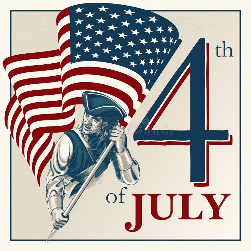 Självständighetsdagen - fjärdedel av illustrationen för Juli vektortappning vektor illustrationer
