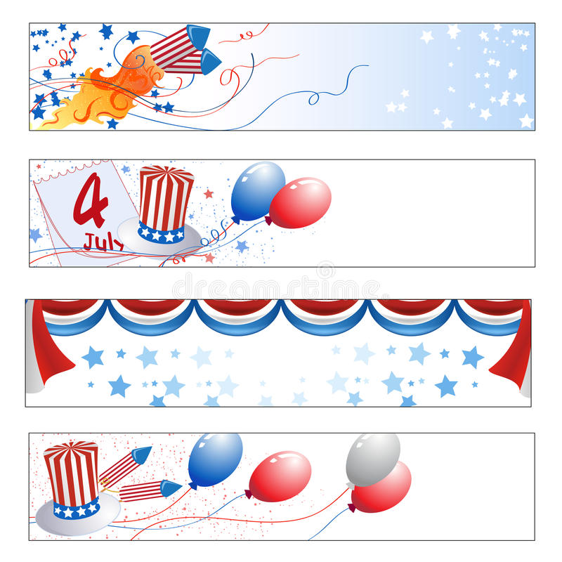 Självständighetsdagenbaner stock illustrationer