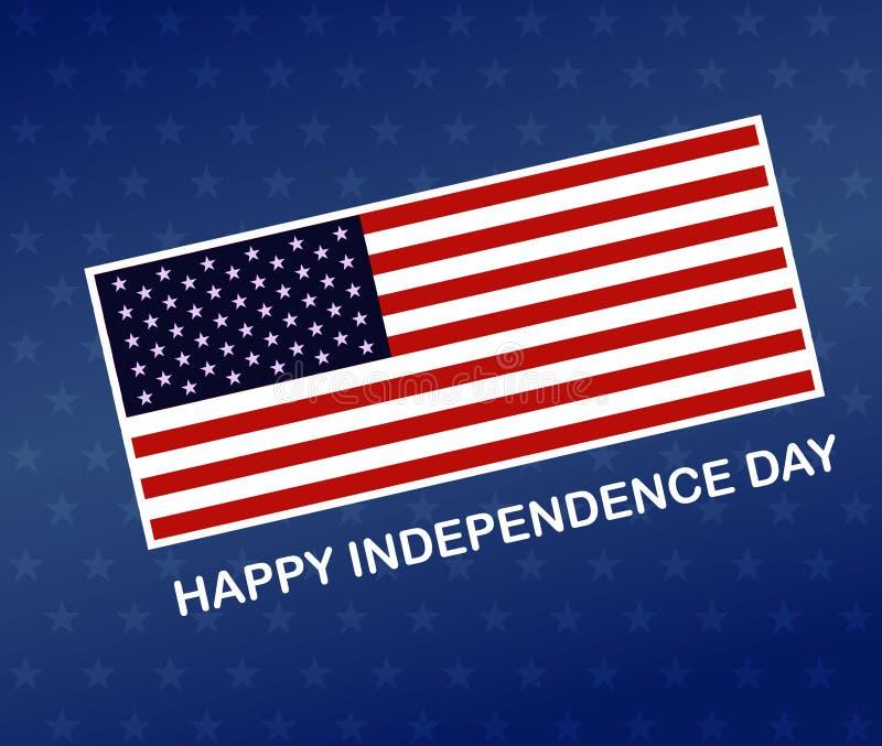 Självständighetsdagenbaner, fjärde av juli Amerikanska flaggan på den blåa bakgrunden Vektorillustration EPS10 stock illustrationer