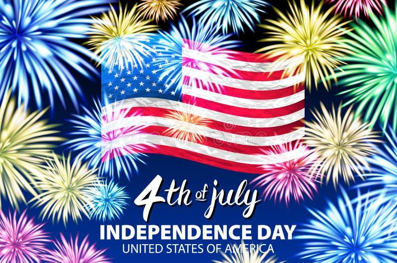 Självständighetsdagenberömbakgrund med fyrverkerier och amerikanska flaggan Festlig mall för vektor för att hälsa baner och affis vektor illustrationer