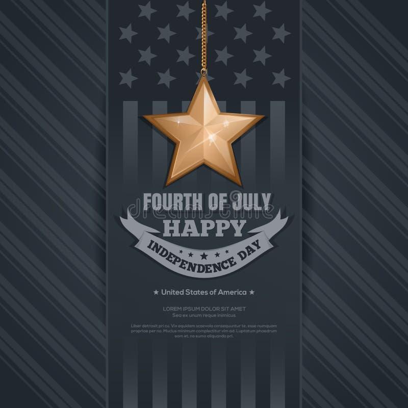 Självständighetsdagenkort 4th juli stock illustrationer