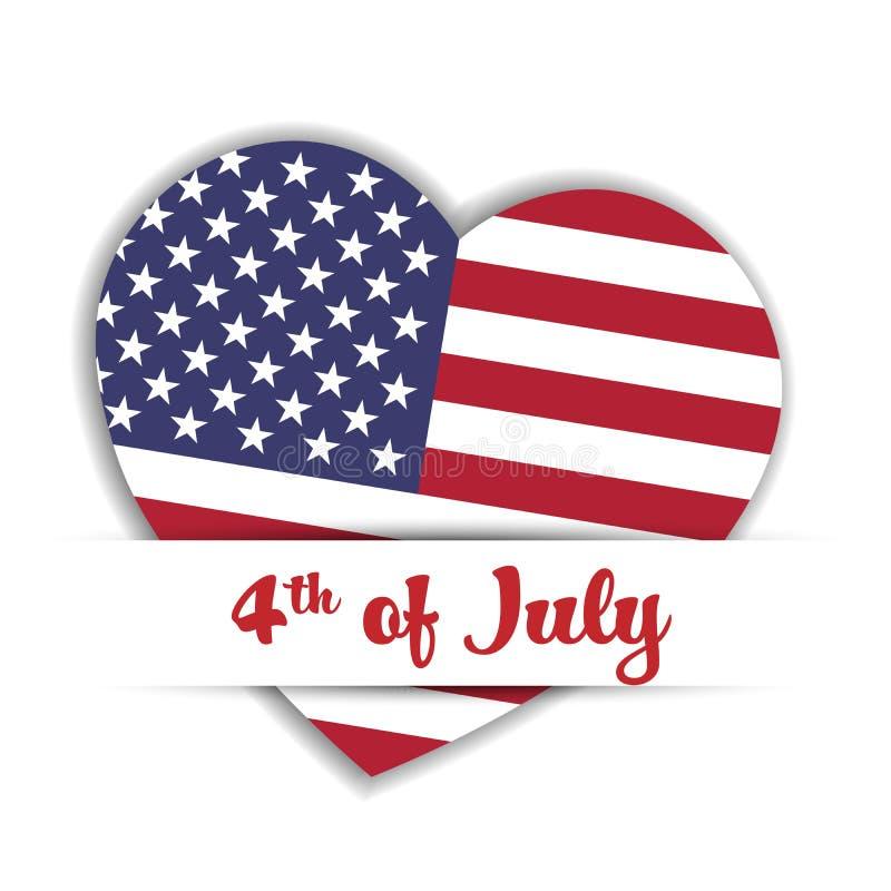 Självständighetsdagenkort USA-flaggan i en form av hjärta i skyler över brister facket med etiketten 4th Juli Patriotiska USA stock illustrationer