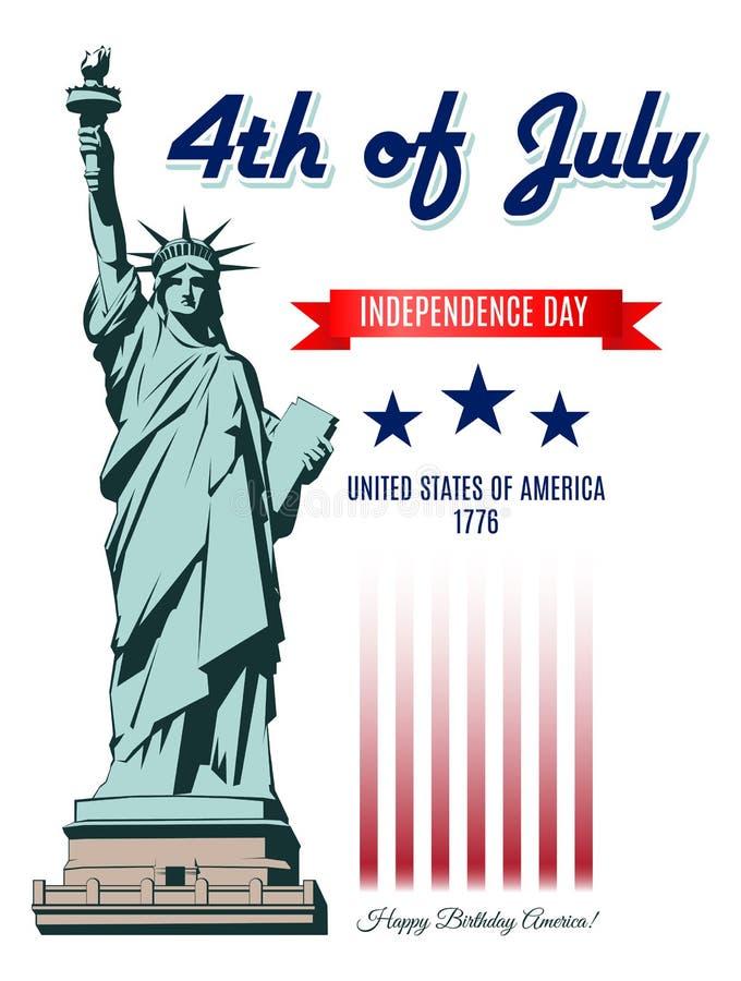 Självständighetsdagenstaty av frihet stock illustrationer