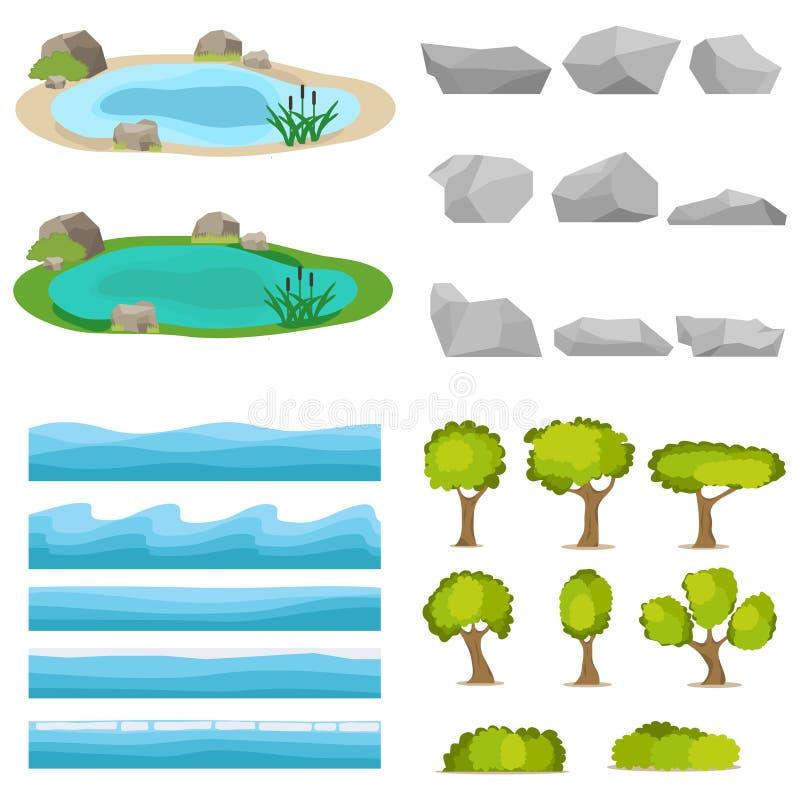 Sjö en uppsättning av stenar, träd, en uppsättning av seascapes, en våg royaltyfri illustrationer
