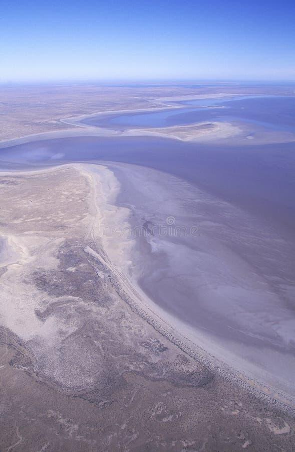 Sjö Eyre, södra Australien arkivfoton