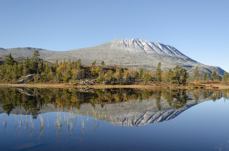 Sjö för Gaustadtoppen bergspegel i höst arkivbilder
