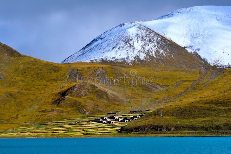 Sjö för Tibet snöberg arkivfoton