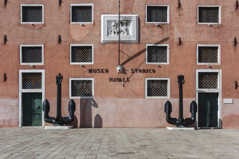 Sjö- historiemuseum, framdel av byggnaden, Venedig, Italien royaltyfria bilder