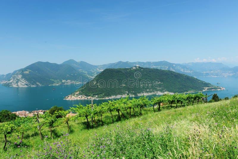 Sjö Iseo i Brescia, Italien royaltyfria bilder