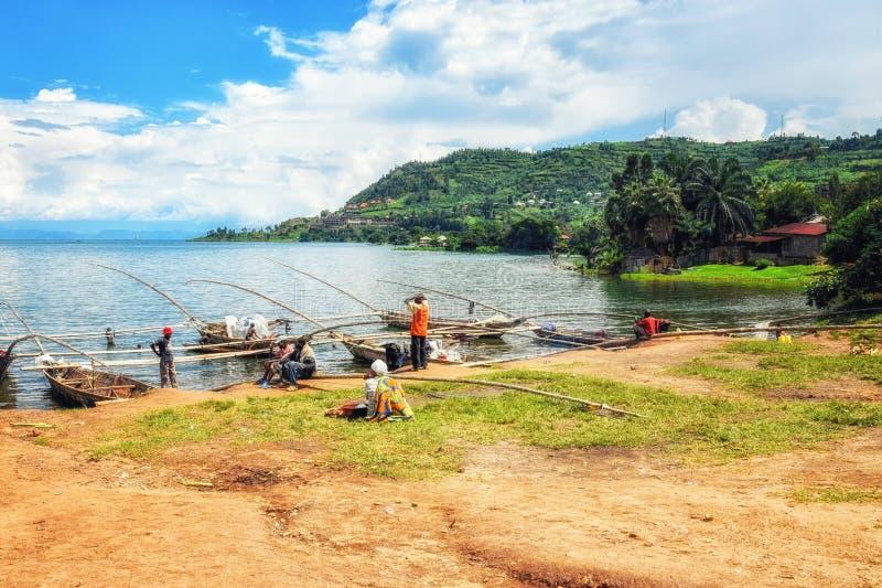 Sjö Kivu, Rwanda royaltyfria bilder