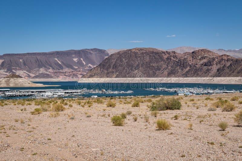 Sjö Mead Nevada Shoreline med marina arkivfoton