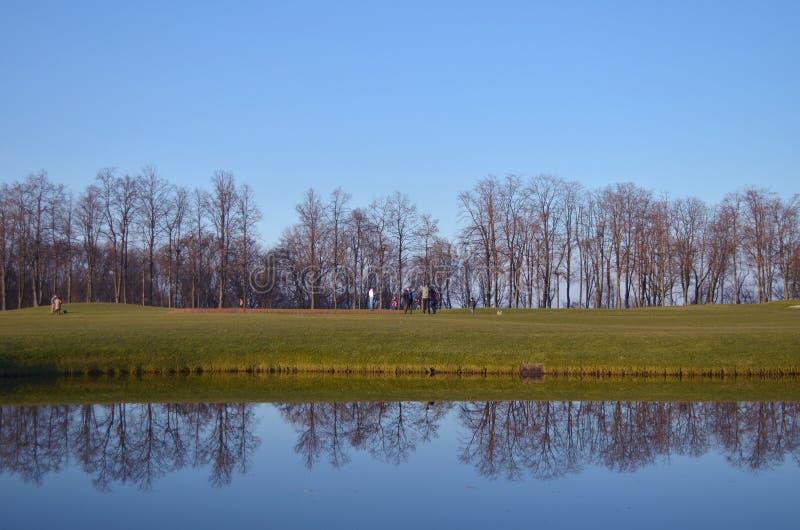 Sjö med reflexioner på en golfbana royaltyfri bild