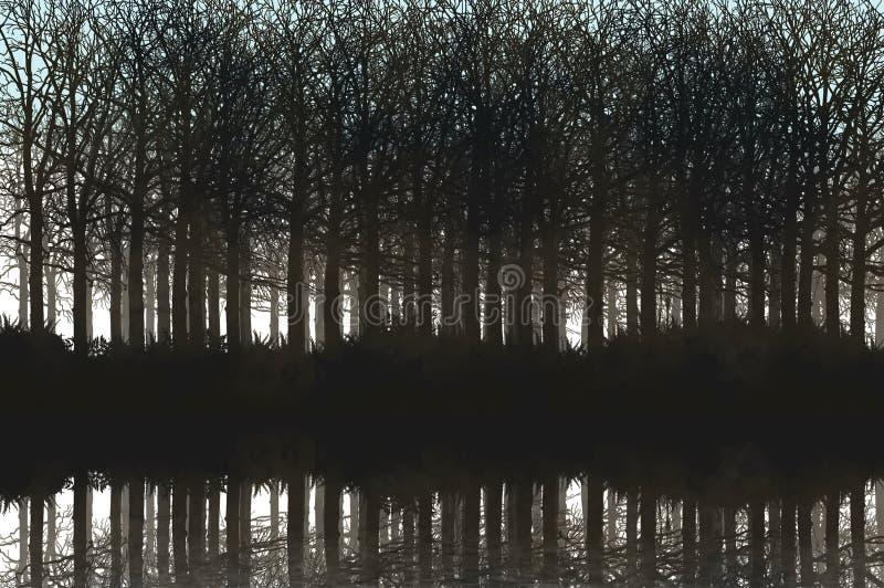 Sjö med skogen på solnedgången royaltyfri bild