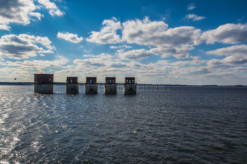 Sjö Murray Water Towers Electricity South Carolina arkivbild