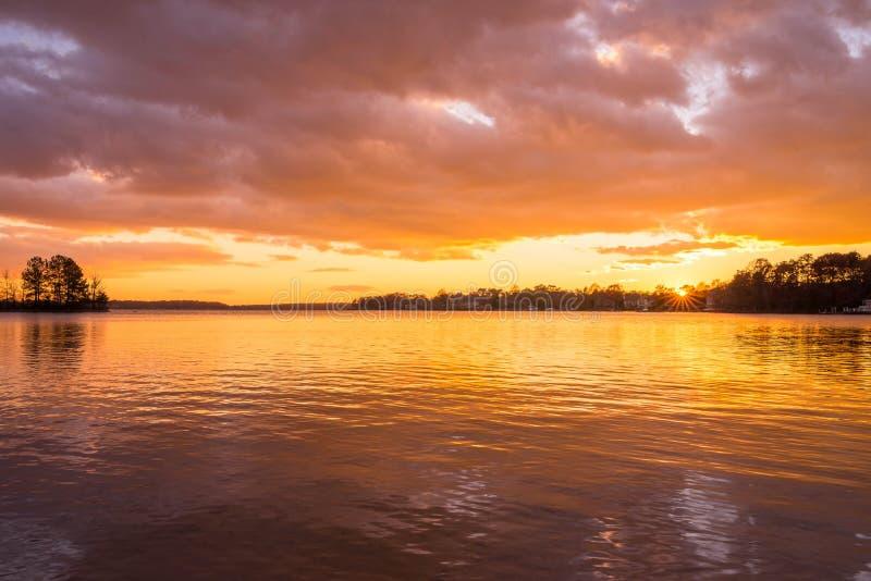 Sjö Norman Sunset 2 arkivfoto