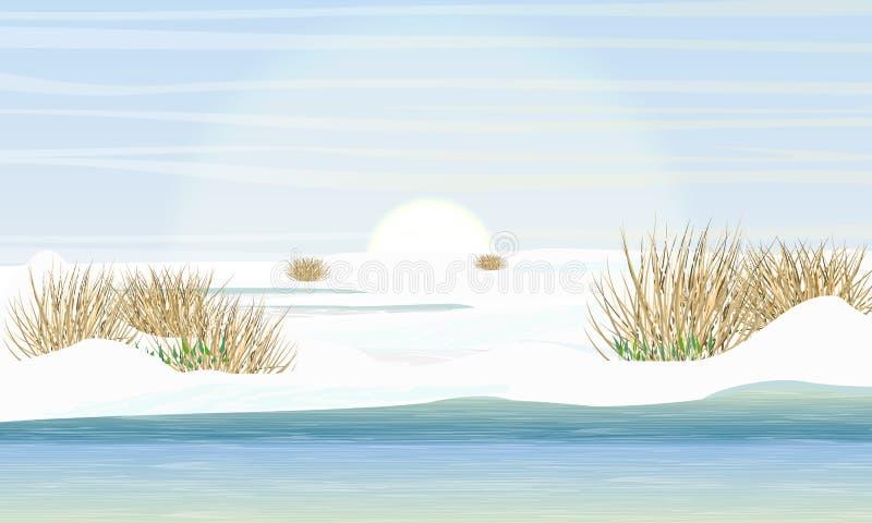 Sjö och äng i tidig vår Kust i snön, de första snödropparna, torrt gräs Vårliten vik stock illustrationer
