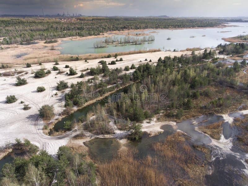 Sjö och skog under vårtid ovanför sikt Dabrowa Gorn royaltyfri foto