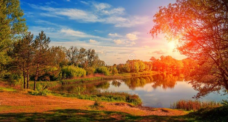 Sjö- och vårskognatursammansättning Fantastiskt landskap över floden under glänsande solljus majestätisk pittoresk himmel arkivbilder