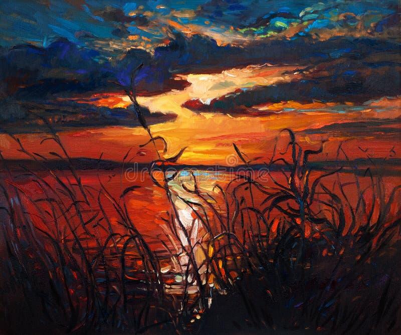 Sjö på solnedgång royaltyfri fotografi