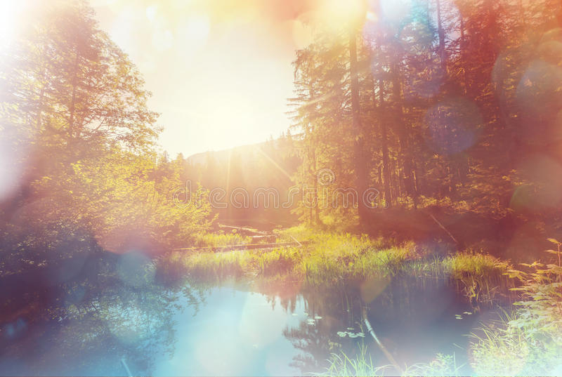 Sjö på soluppgång fotografering för bildbyråer