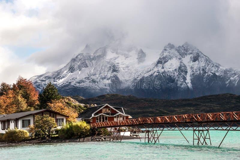 Sjö Pehoe, nationalpark Torres del Paine, Chile arkivbilder