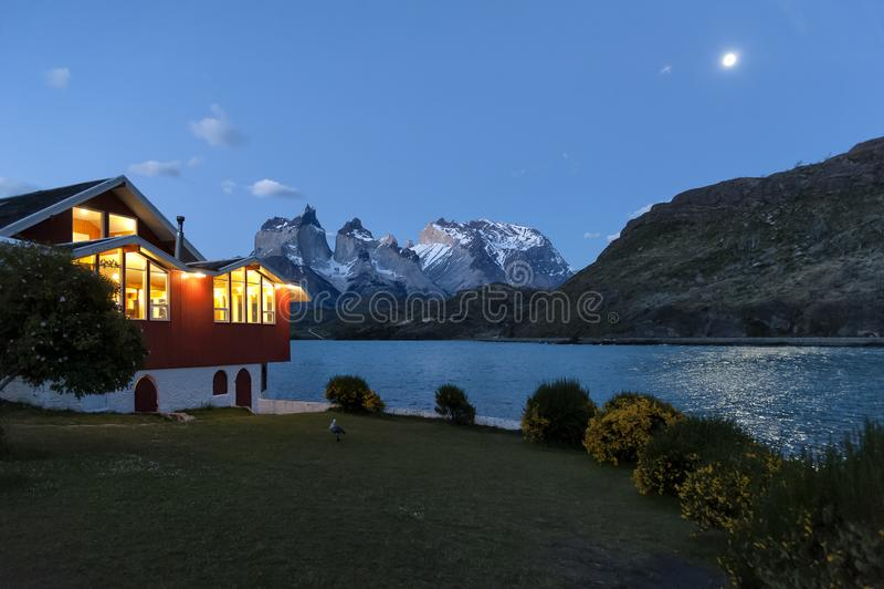 Sjö Pehoe, Torres Del Paine National Park, Patagonia, Chile arkivbild